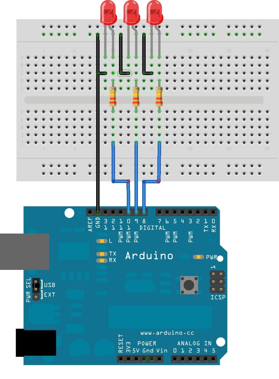 Arduino Sidekick Basic Kit Led In A Parallel Circuit Running Display